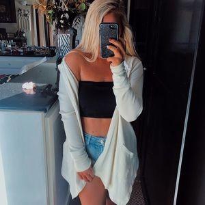 Cream colored hooded boho cardigan